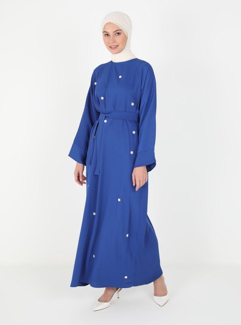 Tuncay Gece Mavisi İnci Aksesuarlı Elbise