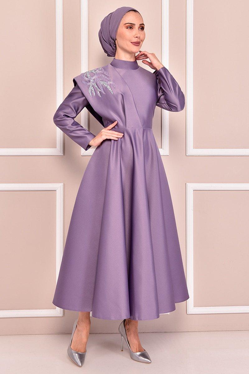 Moda Merve Lila Saten Abiye Elbise