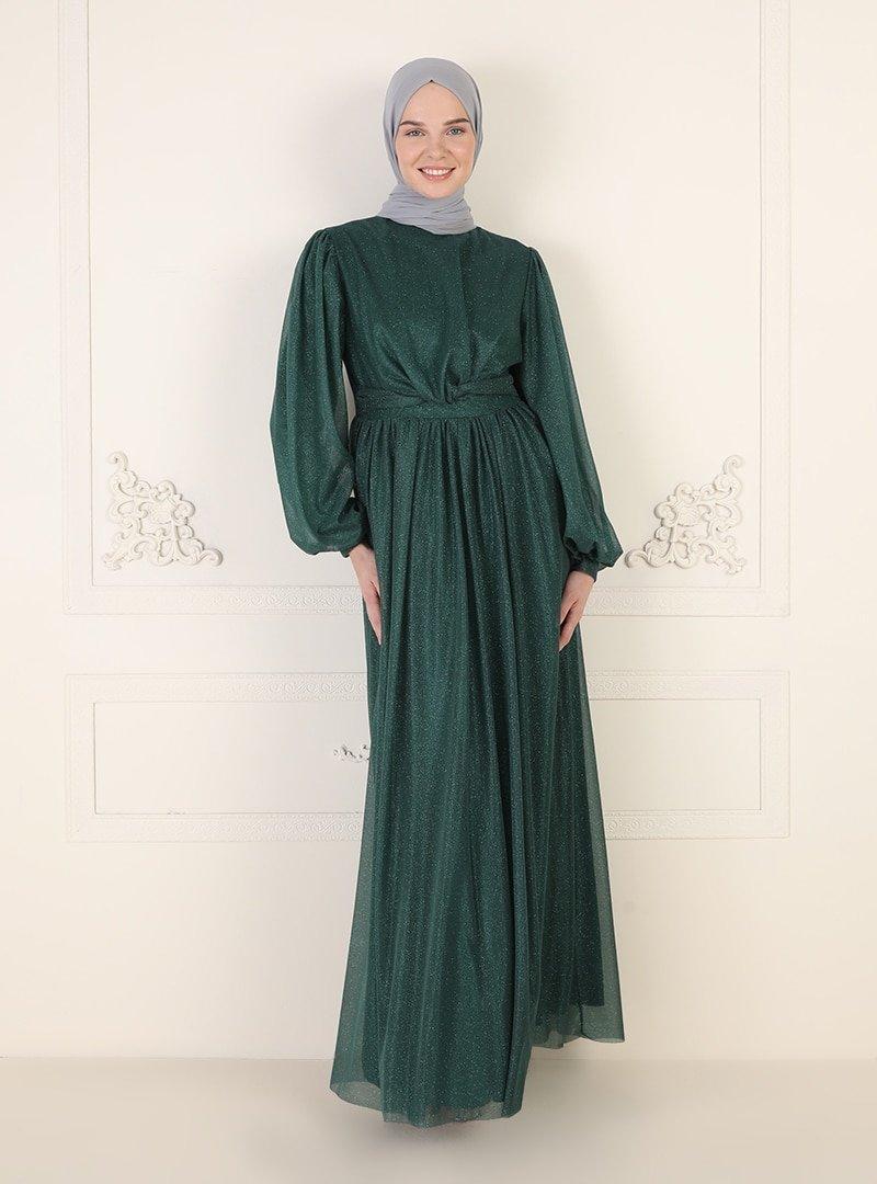 MEKSİLA Zümrüt Yeşili Simli Tül Detaylı Abiye Elbise