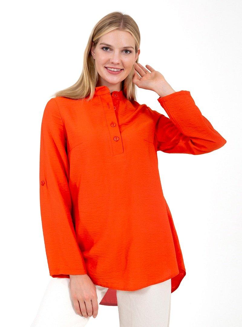 ONX10 Turuncu Yaka Detaylı Gömlek