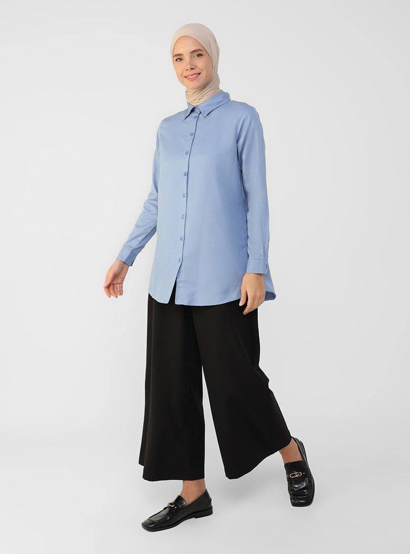 Refka İndigo Oxford Kumaştan Basic Gömlek