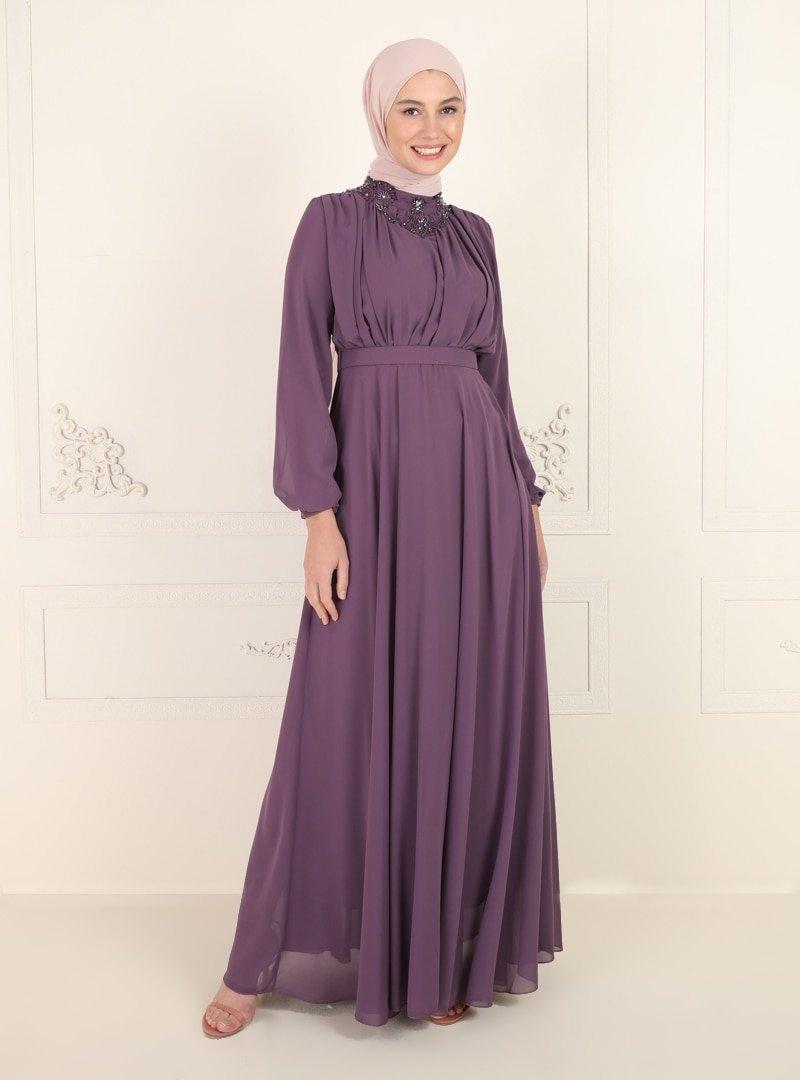Amine Hüma Lavanta Yakası Taş Detaylı Abiye Elbise