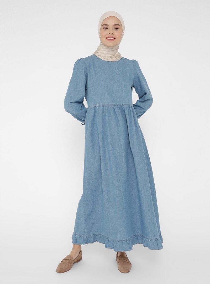 Benin Mavi Kol Detaylı Kot Elbise