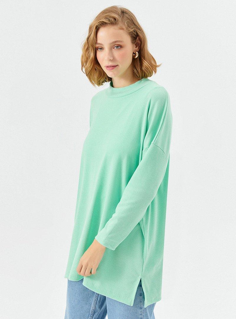 Muni Muni Fıstık Yeşili Salaş Kesim Boğazlı Tunik