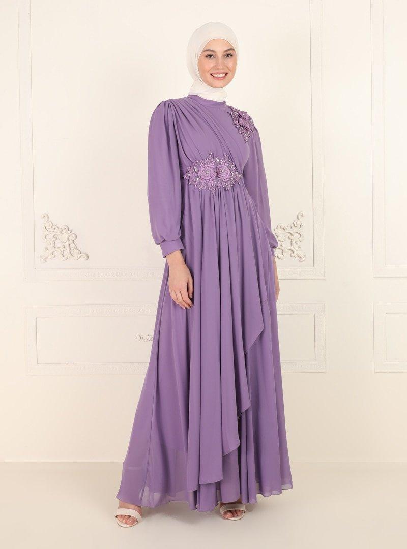 Amine Hüma Lila Boncuk Detaylı Abiye Elbise