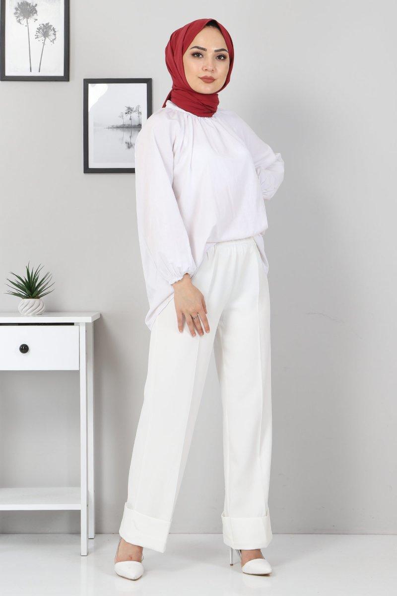 MISSVALLE Beyaz Duble Paça Kumaş Pantolon