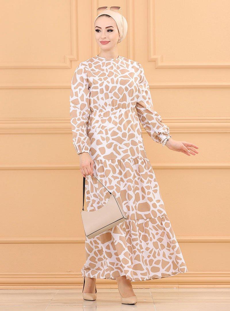 Tofisa Bej Desenli Elbise