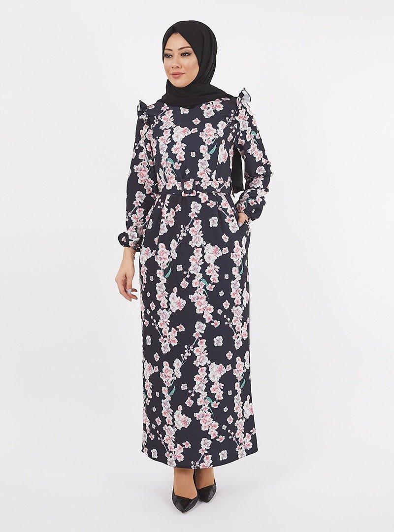 TESETTURİUM Siyah Dijital Baskılı Krep Elbise