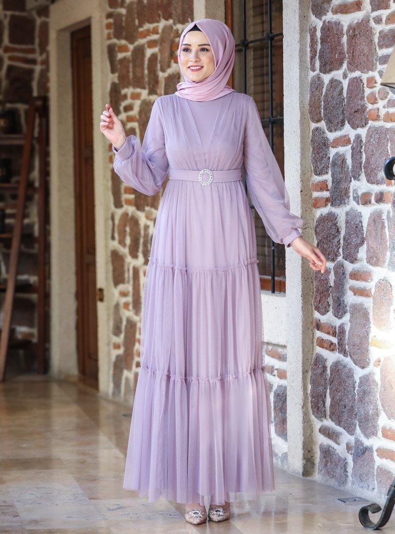 Amine Hüma Lila Soft Abiye Elbise