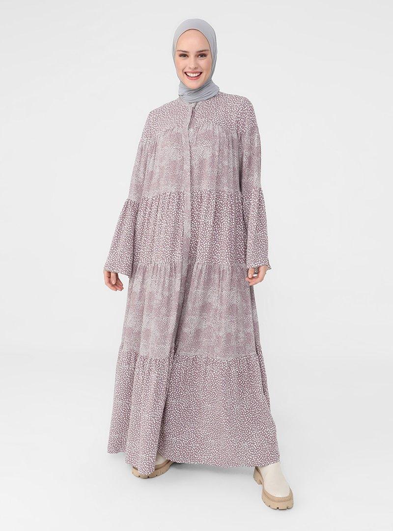 Refka Derin Pembe Çift Desenli İspanyol Kollu Elbise