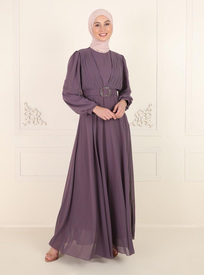 Amine Hüma Lavanta Kemer Detaylı Abiye Elbise