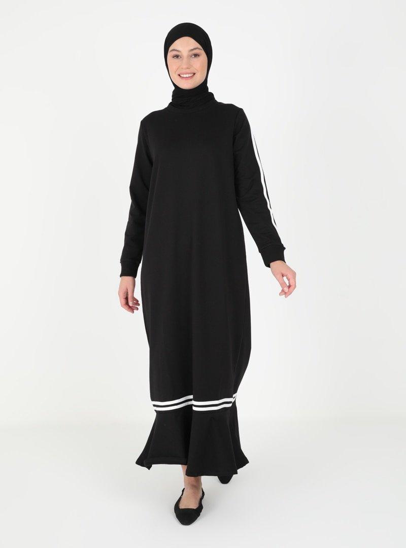 Peker Siyah Kolları Şerit Detaylı Elbise