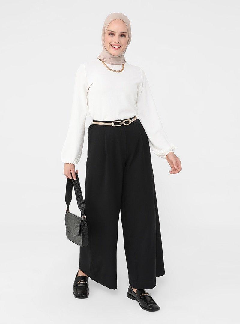 Refka Siyah Pile Detaylı Geniş Paça Pantolon