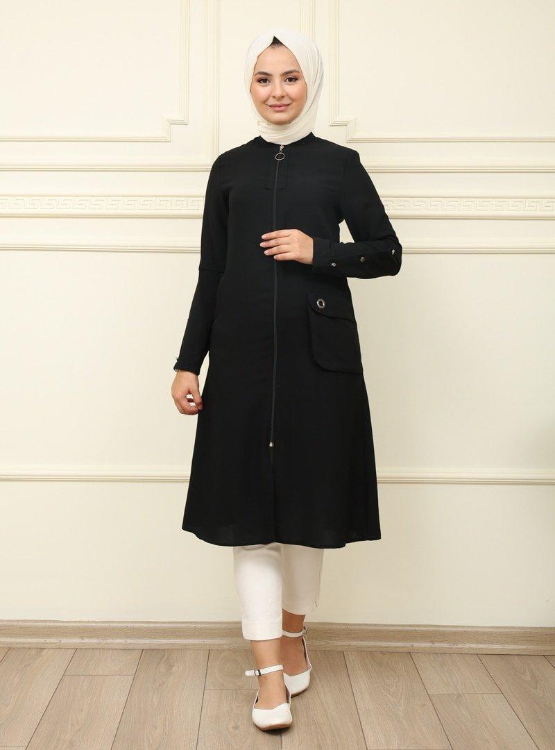 Moda Dua Siyah Cep Detaylı Fermuarlı Kap