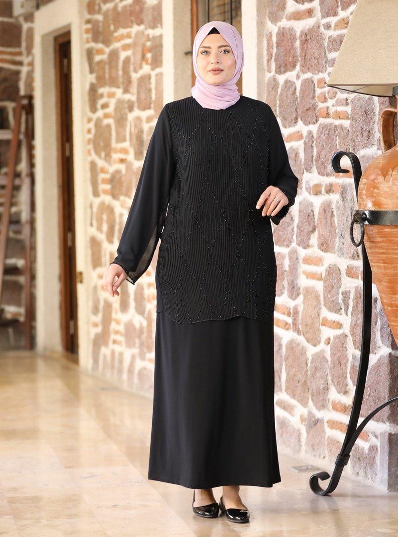 Amine Hüma Siyah Asil Abiye Elbise