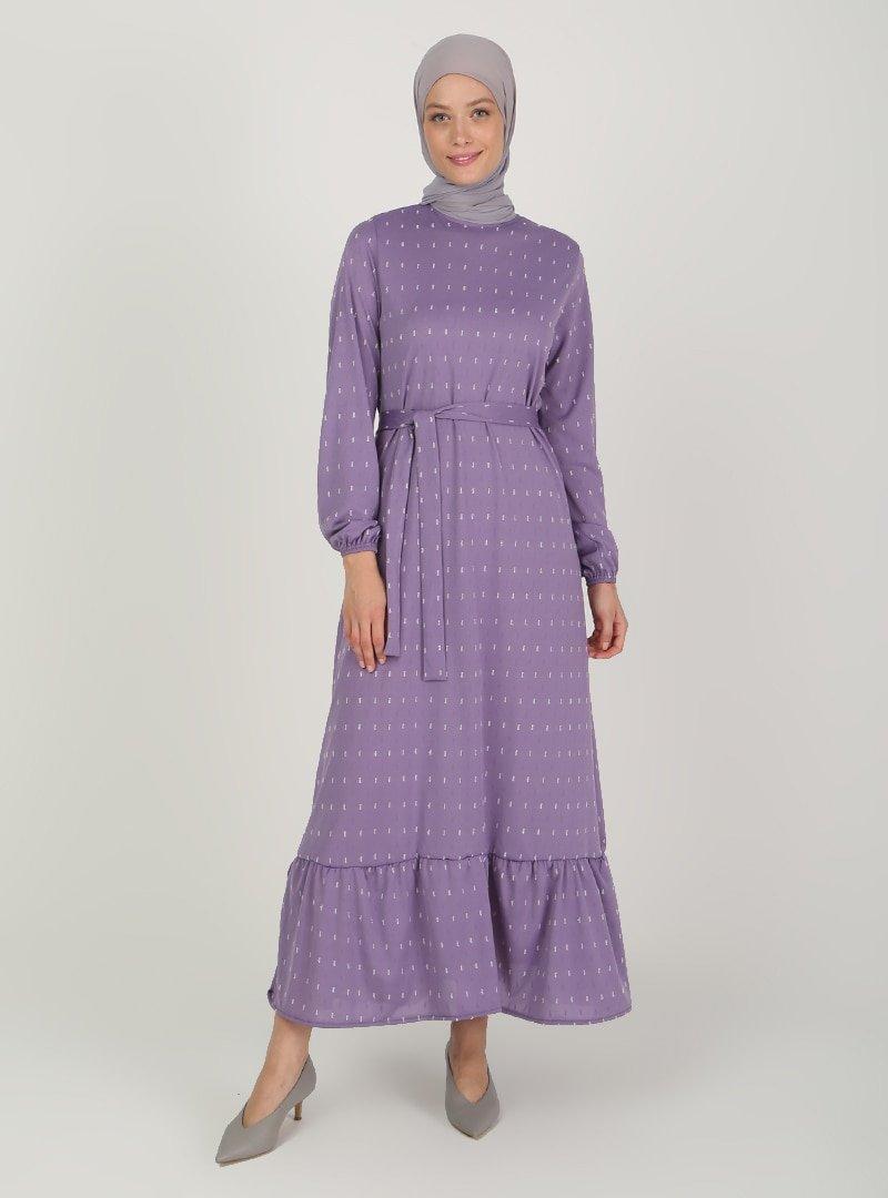 ECESUN Lila Kol Uçları Lastikli Elbise