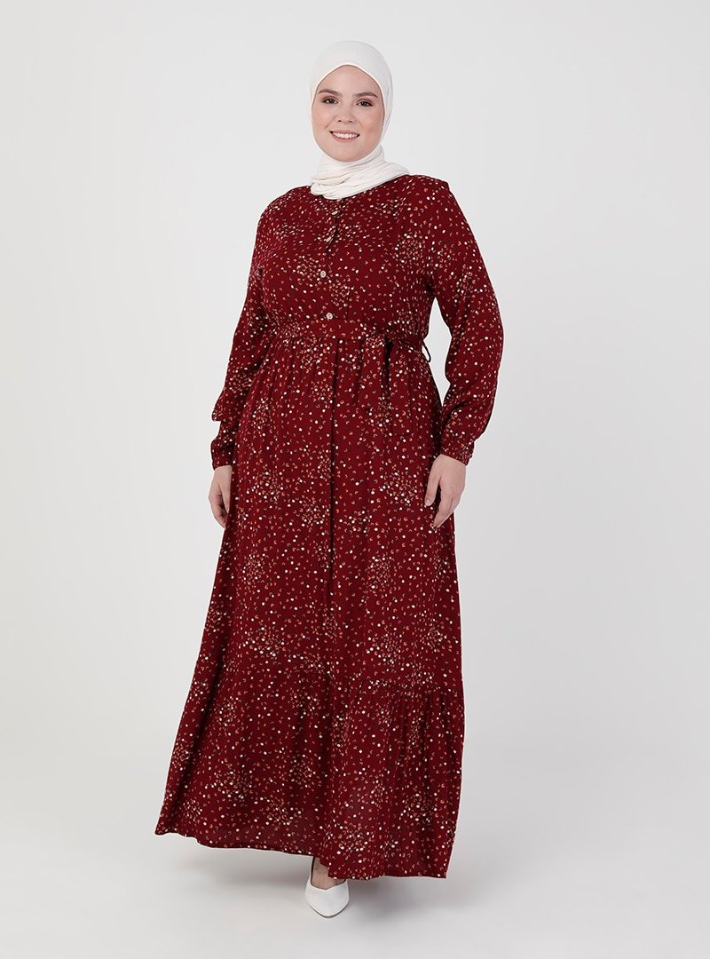 ZENANE Bordo Beli Lastikli Desenli Elbise