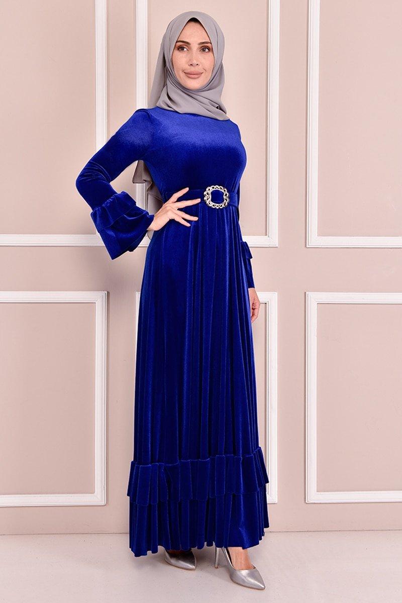 Moda Merve Saks Kemerli Kadife Elbise