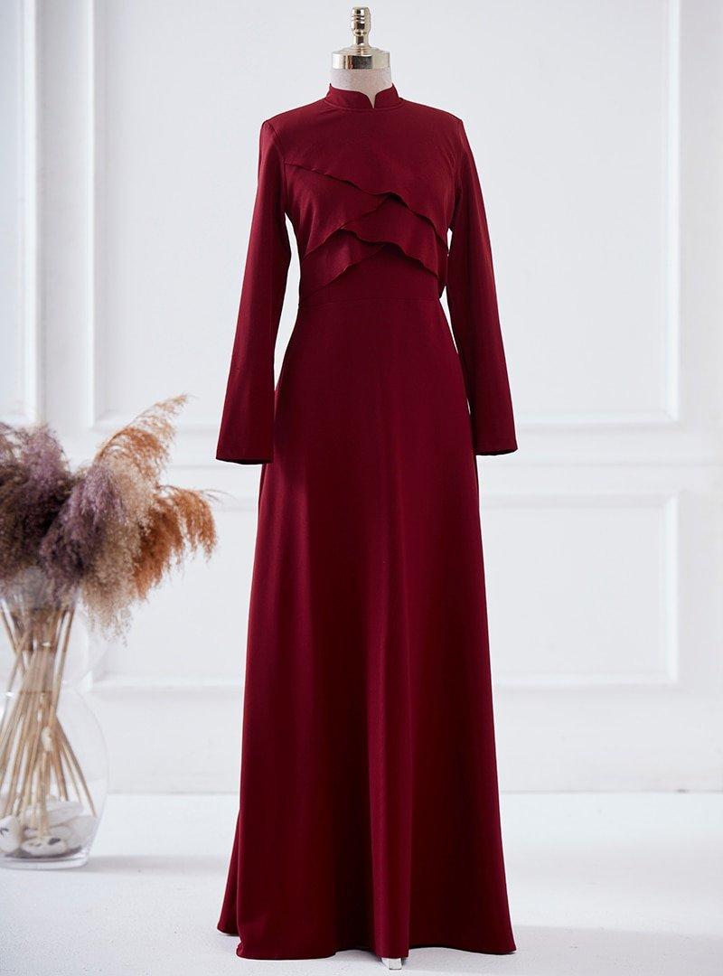 LARACHE Bordo Pelerin Elbise
