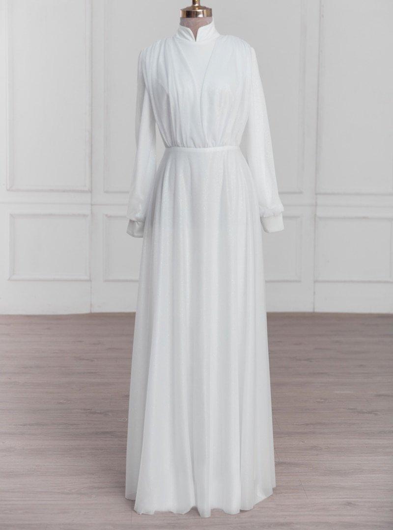 LARACHE Ekru Yasemin Şifon Abiye Elbise