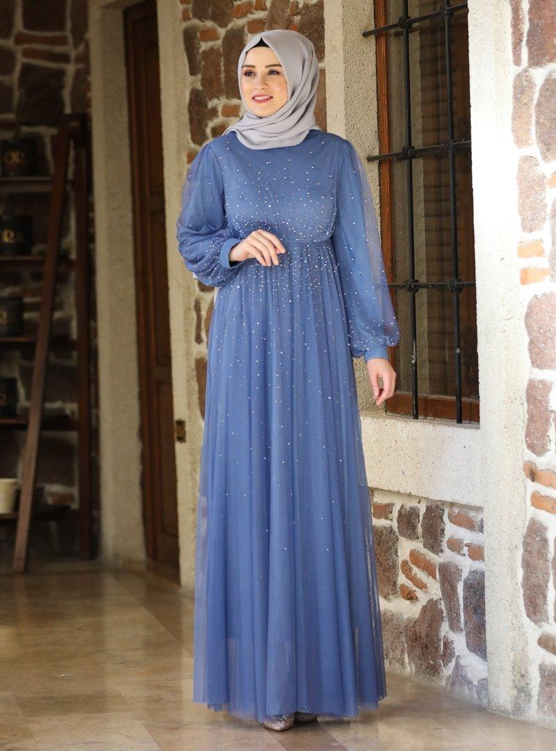 Amine Hüma İndigo Işıltı Abiye Elbise