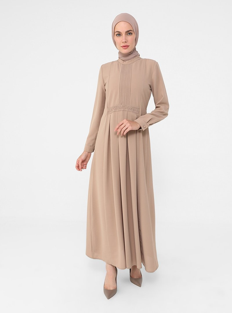 Refka Taş Pile Ve Gipe Detaylı Elbise