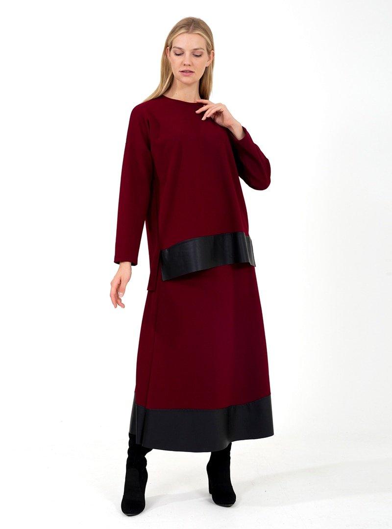 ONX10 Bordo Deri Garnili Tunik & Etek İkili Takım