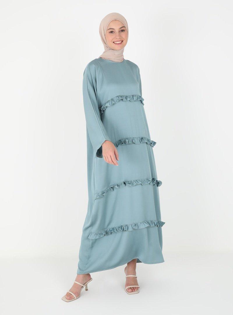 Tuncay Mint Dört Kat Fırfırlı Elbise