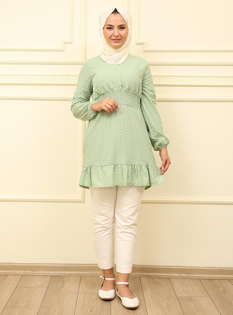 Moda Dua Yeşil Ponponlu Beli Büzgülü Tunik