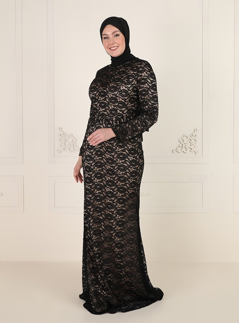 Mileny Siyah Dantelli Abiye Elbise