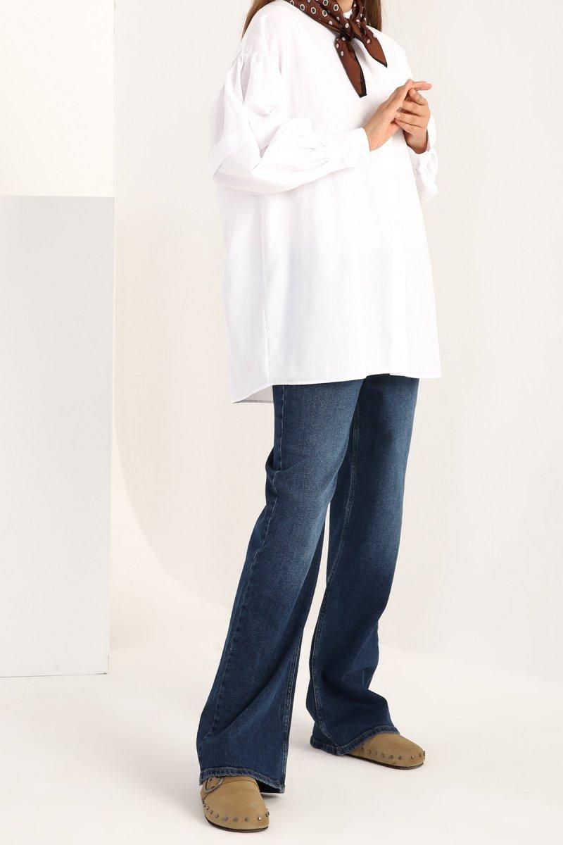 Allday Beyaz Büzgü Kol Detaylı Önü Düğmeli Gömlek Tunik