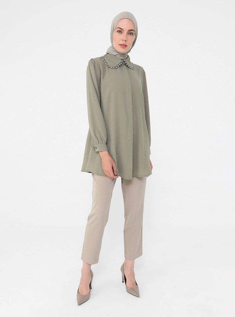 Refka Koyu Soft Yeşil Yakası Güpür Detaylı Bluz Gömlek