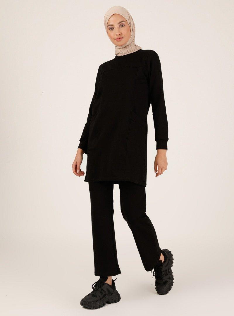 Peker Siyah Tunik & Pantolon İkili Takım