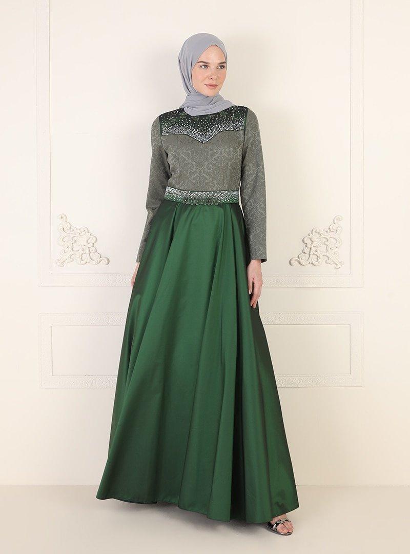 ENSANUR MODA Haki Drop Detaylı Abiye Elbise