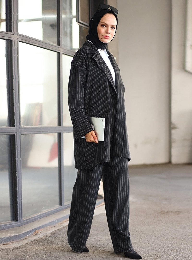 Ceylan Otantik Siyah Çizgili Ceket & Pantolon İkili Takım