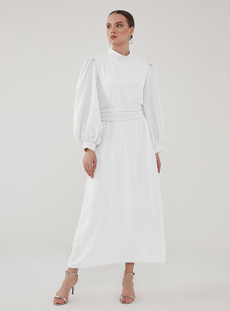Birgül Bektaş Beyaz Nora Abiye Elbise