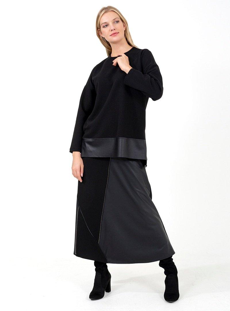 ONX10 Siyah Fermuar Detaylı Deri Garnili Tunik & Etek İkili Takım