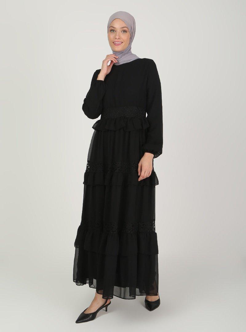 BÜRÜN Siyah Dantel Detaylı Abiye Elbise