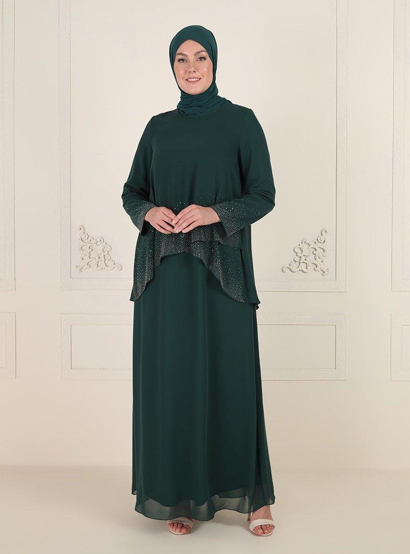 Sevdem Abiye Yeşil Taş Detaylı Abiye Elbise