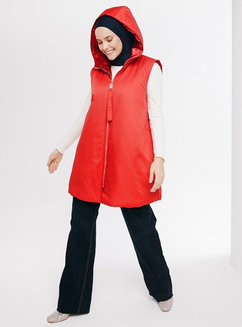 İnşirah Kırmızı Puffy Yelek