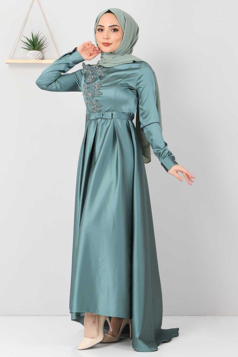 Tesettür Dünyası Mint Yeşili Taş Detaylı Saten Abiye Elbise