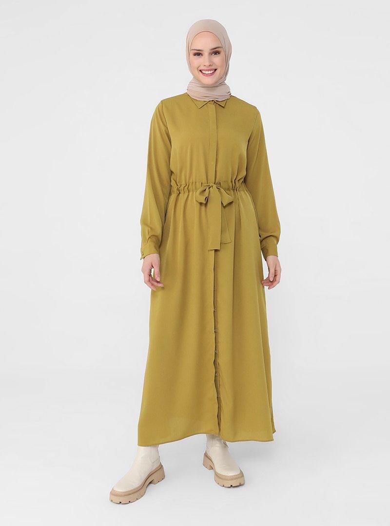 Refka Yağ Yeşili Gizli Düğmeli Elbise