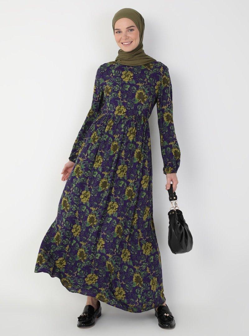 Ziwoman Mor Desenli Elbise