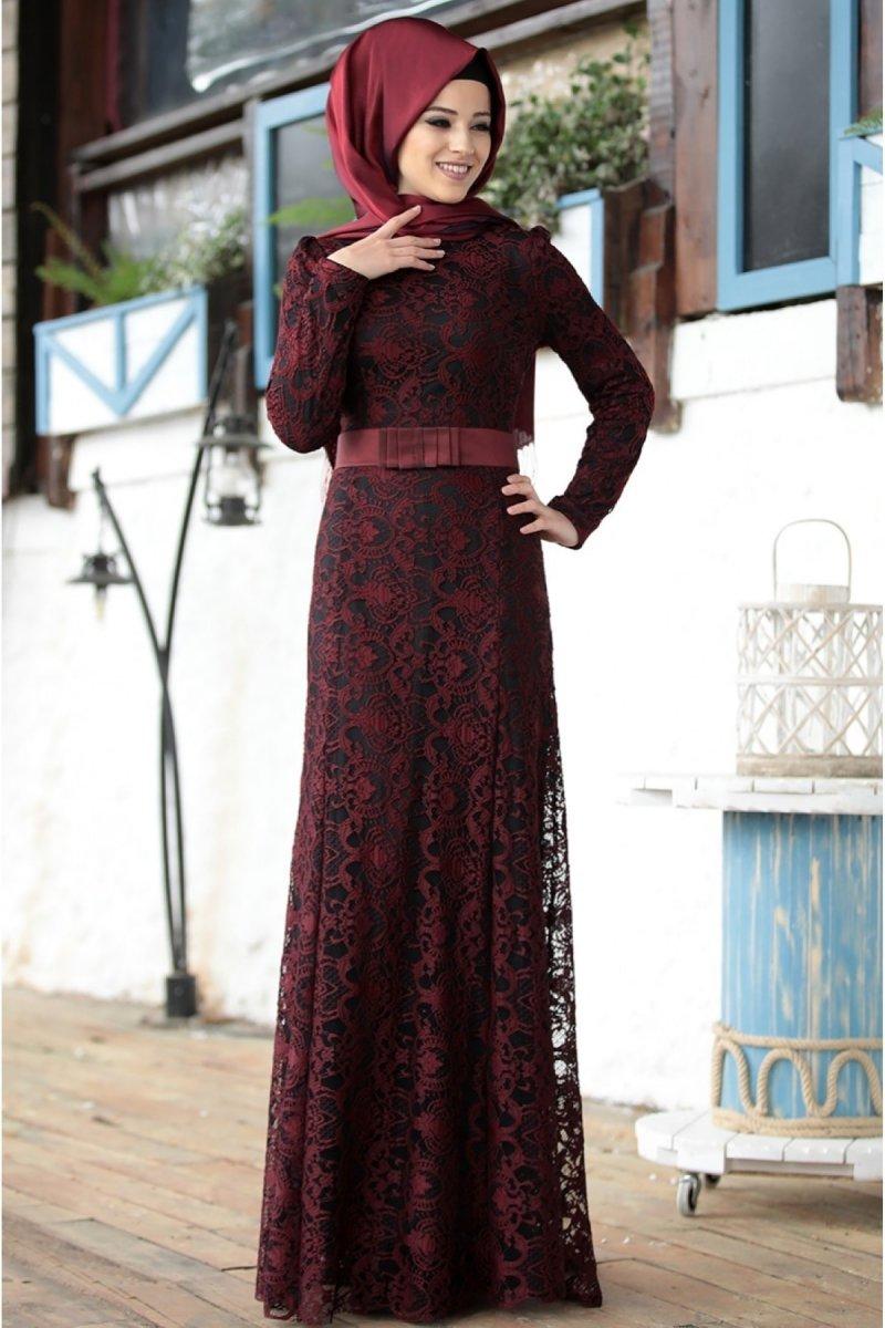 Al-Marah Bordo Dantel Kumaş Elbise