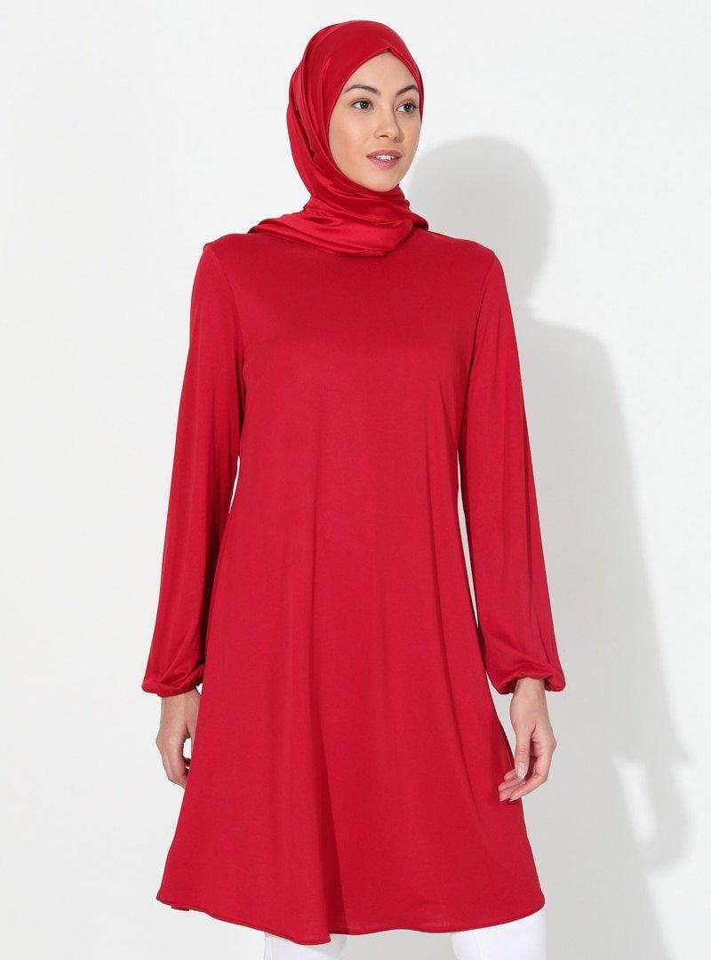 Almera Kırmızı Basic Tunik