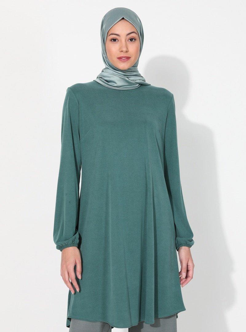 Almera Yeşil Basic Tunik