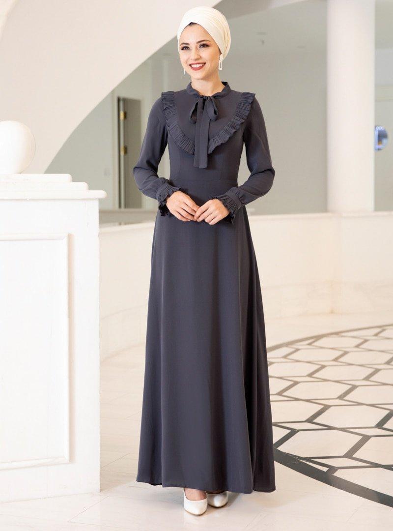 DressLife Antrasit Irmak Abiye Elbise