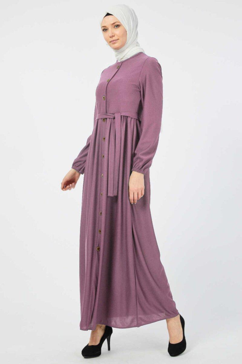 Ecesun Gül Kurusu Kuşaklı Elbise