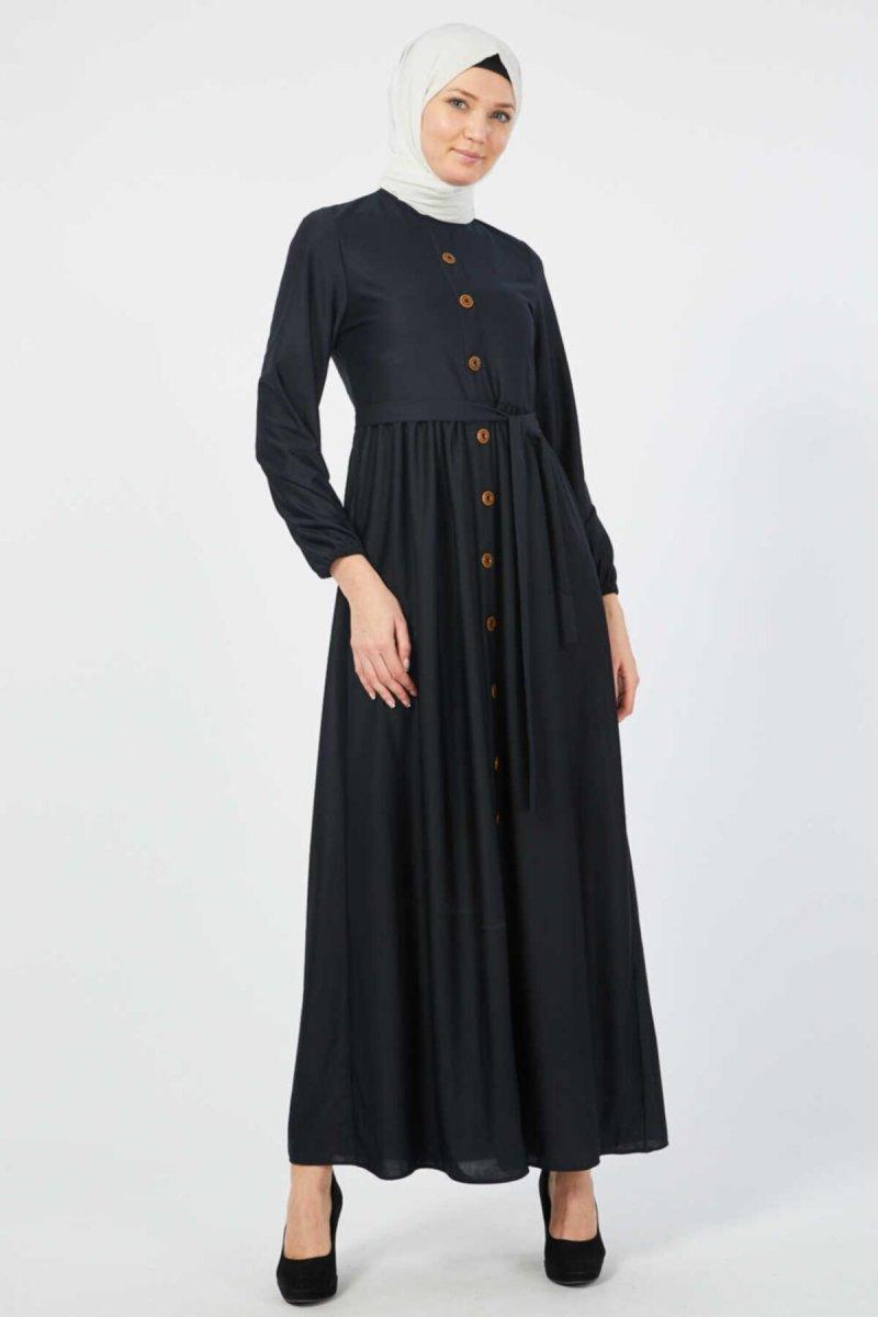 Ecesun Lacivert Kuşaklı Elbise