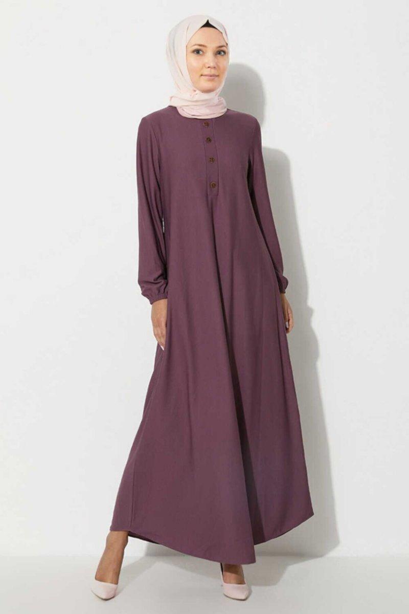 Ecesun Lila Düğme Aksesuarlı Elbise